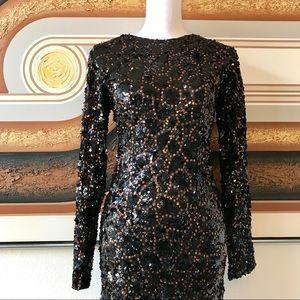 Vintage 80s Black & Brass Sequin Cocktail Dress 4